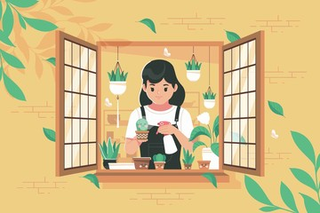 A girl gardening in the window illustration background
