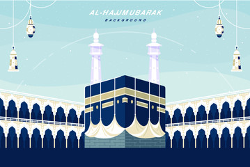 Kaaba landscape flat design background