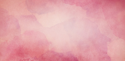 Wall Mural - pink watercolor background texture, vintage paper with soft old marbled grunge border illustration with cloudy peach center