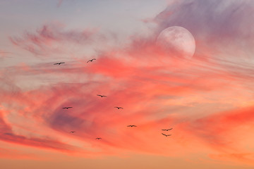 Fototapete - Heavenly Ethereal Surreal Full Moon Clouds