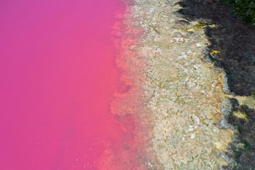Hutt Lagoon Pink lake at Port Gregory in Western Australia
