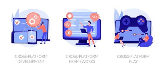 Wall Mural - Multi-platform software. Responsive app coding and programming. Cross-platform frameworks, development, cross-platform play metaphors. Vector isolated concept metaphor illustrations.