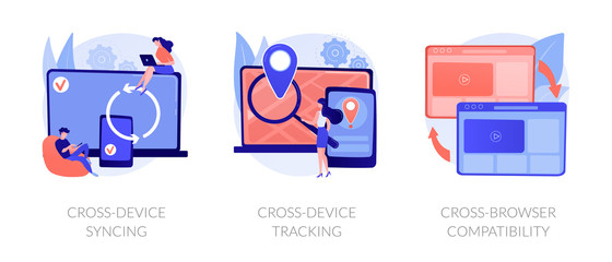 Wall Mural - Cross platform software. Synchronized devices, browser sync. Cross-device syncing, cross-device tracking, cross-browser compatibility metaphors. Vector isolated concept metaphor illustrations.