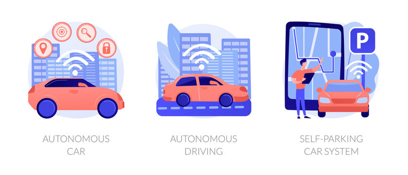 Futuristic driverless automobiles. Smart vehicles digital software. Autonomous car, autonomous driving, self-parking car system metaphors. Vector isolated concept metaphor illustrations