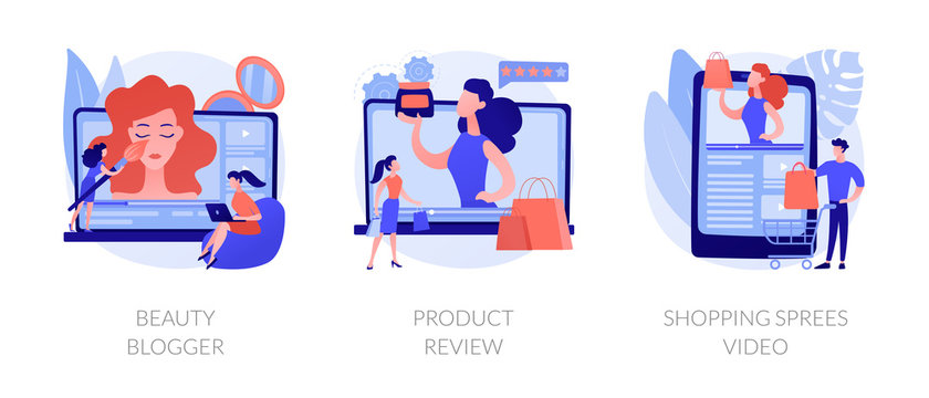 Video tutorials icons set. Influencer marketing, vlogger streaming. Beauty blogger, product review, shopping sprees video metaphors. Vector isolated concept metaphor illustrations.