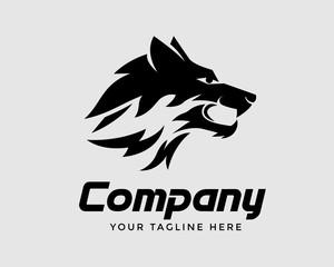 Wild roar head wolf art logo design inspiration