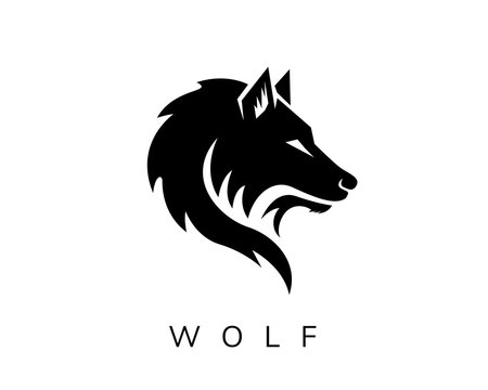 wild head wolf fierce face logo design inspiration