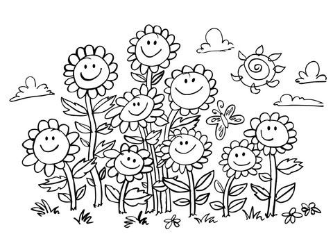 Vector black and white cartoon sunflowers illustration. Suitable for greeting cards, colouring activity and wall murals.