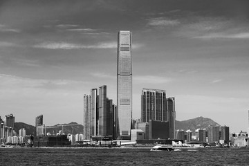 Fototapete - Skyline of Victoria Harbor of Hong Kong city