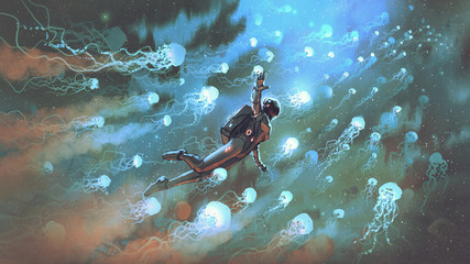 Foto auf AluDibond Grandfailure astronaut floating with glowing jellyfishes in space, digital art style, illustration painting