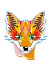 Von Hand gestalteter Fuchs aus Formen und Farben