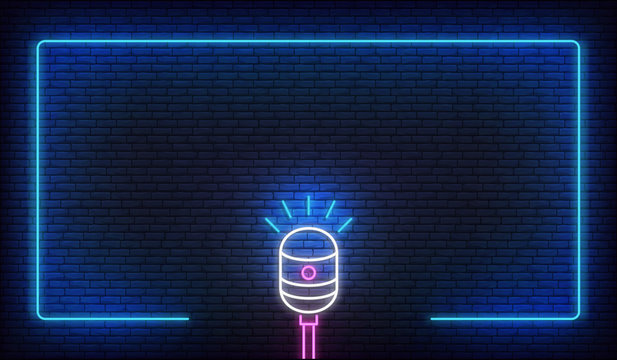 Neon microphone and border frame. Template for podcast, live music, stand up, comedy show