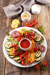 Wall Mural - vegetable grilled- barbecue- with dipping sauce