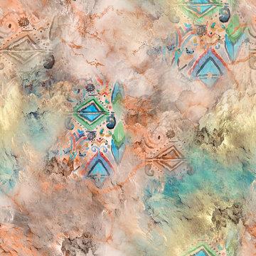 Textile digital pattern ikat design - Illustration