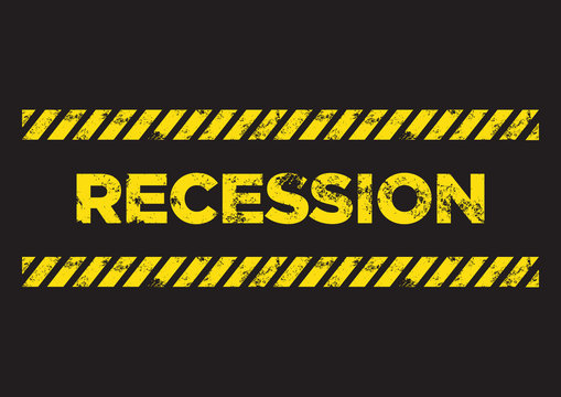 Recession distress sign. Broken yellow font text. Concept of economy recession or business crisis.