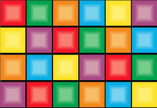Creative vector illustration of brick game- video game background. Art design retro color block shapes template. Abstract concept graphic colorful pattern with pixel bricks element