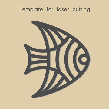 Template animal for laser cutting. Abstract geometriс fish for cut. Stencil for decorative panel of wood, metal, paper. Vector illustration.