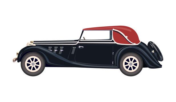 Retro Clip Art. Black retro car with red roof. Retro car silhouette