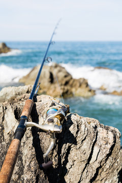Spinning for fishing on the rocks