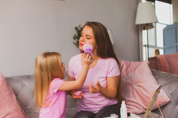 Beauty salon at home for mother and daughter