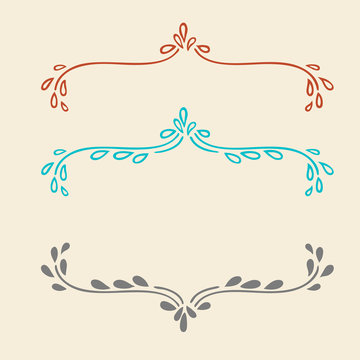 Vector set of border or underline design elements or paragraph text dividers in fancy scrollwork and decorative curls, hand drawn wedding announcement or invitation frame