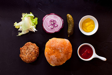 Ingredients for ideal burger to make at home