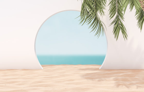Natural summer beach backdrop with palm tree for product display. Abstract 3d summer scene. sea view.