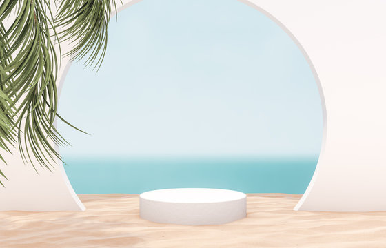 Natural summer beach backdrop with white cylinder box and palm tree for product display. Abstract 3d summer scene. sea view.