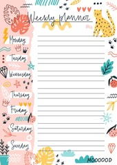 Colorful weekly planner template with place for text vector flat illustration. Sheet with daily week for notes and planning decorated by doodle design elements. Hand drawn to do list or reminder