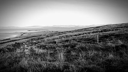 Foto auf Gartenposter Grau Verkehrs Countryside Landscape Against Clear Sky