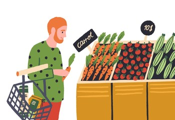 Cartoon man choosing vegetable at shop vector flat illustration. Colorful male buyer at grocery store produce section isolated on white background. Goods assortment with tag price