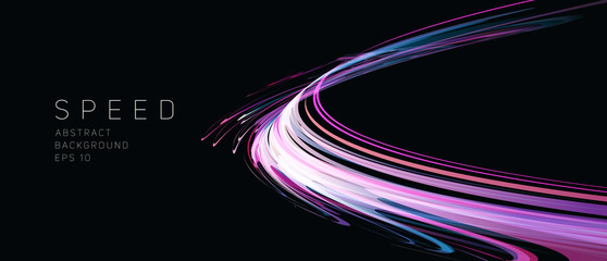 Dynamic composition of bright lines forming lights track of speed movement, futuristic dark background with neon glow, graphic design element