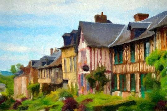 Impressionnisme. Maisons à colombages du village du Bec Hellouin, village classé dans le département de l'Eure