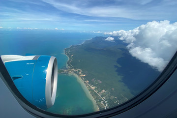 Phu Quoc resort island is seen via the window of an airplane after the Vietnamese government eased the lockdown following the coronavirus disease (COVID-19) outbreak, Phu Quoc Island