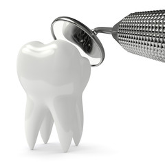 3d render of tooth decay and dental mirror over white