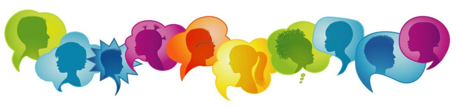 Multicultural kindergarten.Silhouette group of modern children in rainbow colored profile.Communication between multi-ethnic children.Children talking.Speech bubble.Globalization