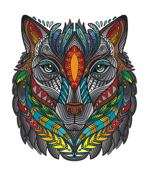Vector ornamental wolf