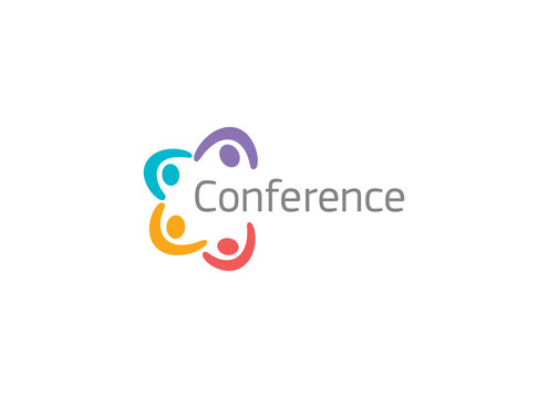 Online conference, video chatting app concept logo. Remote work logotype. Webinars broadcasting colorful application icon. Web meeting, company brainstorming, team communication vector illustration.