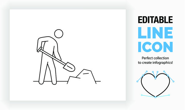 Editable line icon of a stick figure shovelling, part of a huge set of editable line icons!
