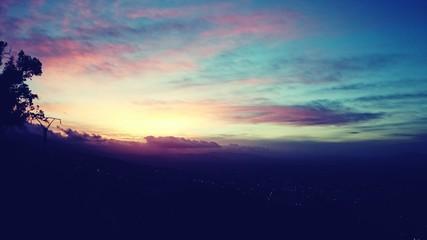 Silhouette Landscape Against Dramatic Sky - fototapety na wymiar