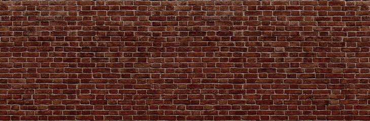 Fotobehang - Brick wall. Old vintage brick wall pattern. Red brick wall panoramic background.