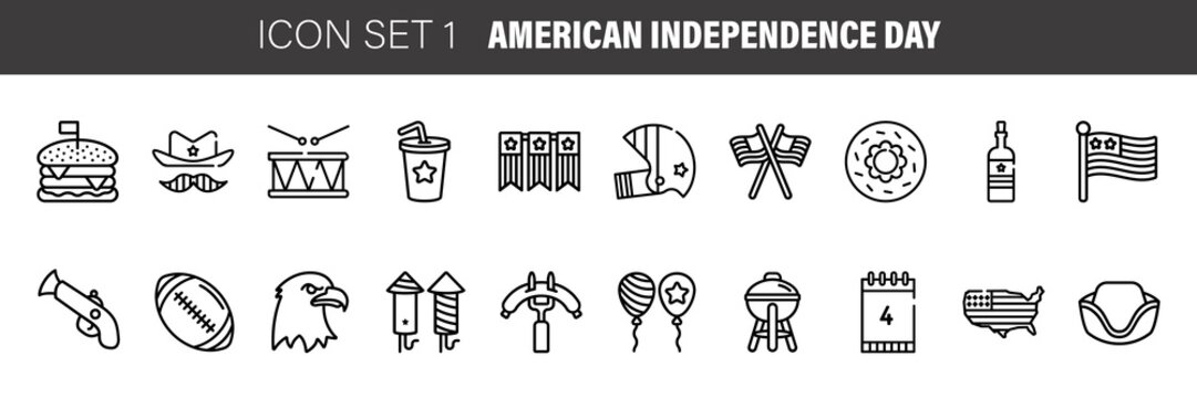 Independence Day thin line icon set, 4th july symbols collection, vector sketches, logo illustrations, american holiday decor signs linear pictograms package isolated on white background, eps 10