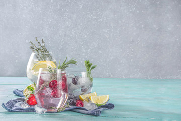 Fruit and berries gin tonics