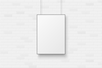 Wall Mural - Blank poster on a white brick wal