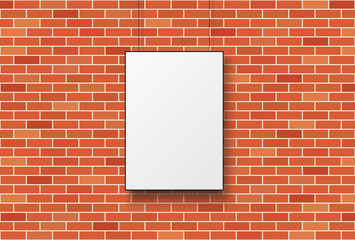 Wall Mural - Blank poster on a red brick wall