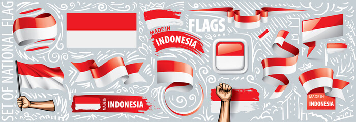 Vector set of the national flag of Indonesia in various creative designs