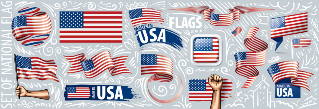 Vector set of the national flag of USA in various creative designs