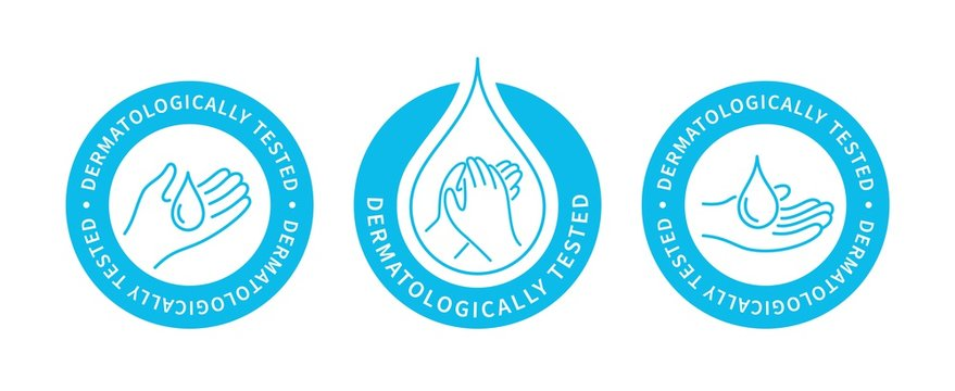 Dermatologically tested, vector sticker or label. Ready icons set for use on packages design of dermatological products. Label design with, hand and drop of water logo.