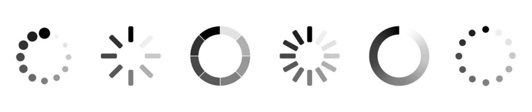 Loading icons. Load. Load bar icons. Set of loading icon in a row, isolated on white background. Eps10