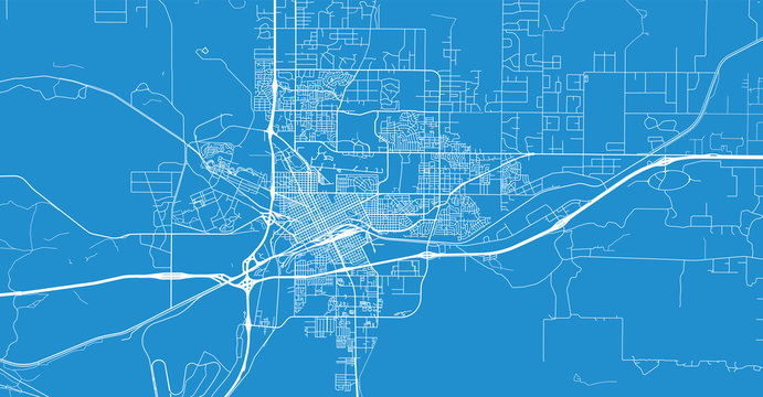 Urban vector city map of Cheyenne, USA. Wyoming state capital